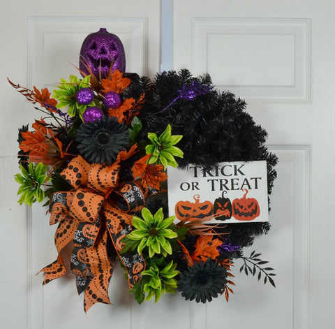 alloween Trick or Treat Floral Front Door Wreath with Sign
