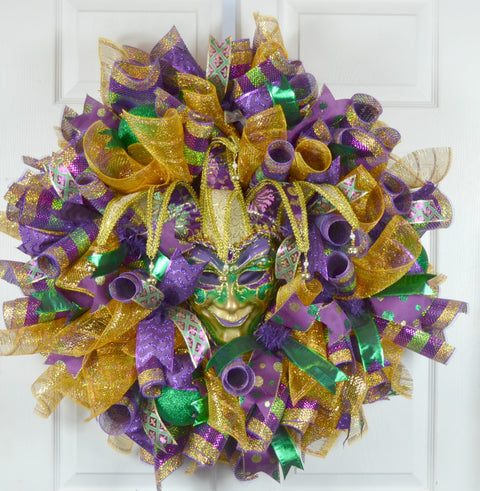 Heckler Mardi Gras Deco Mesh Wreath with Jester Mask