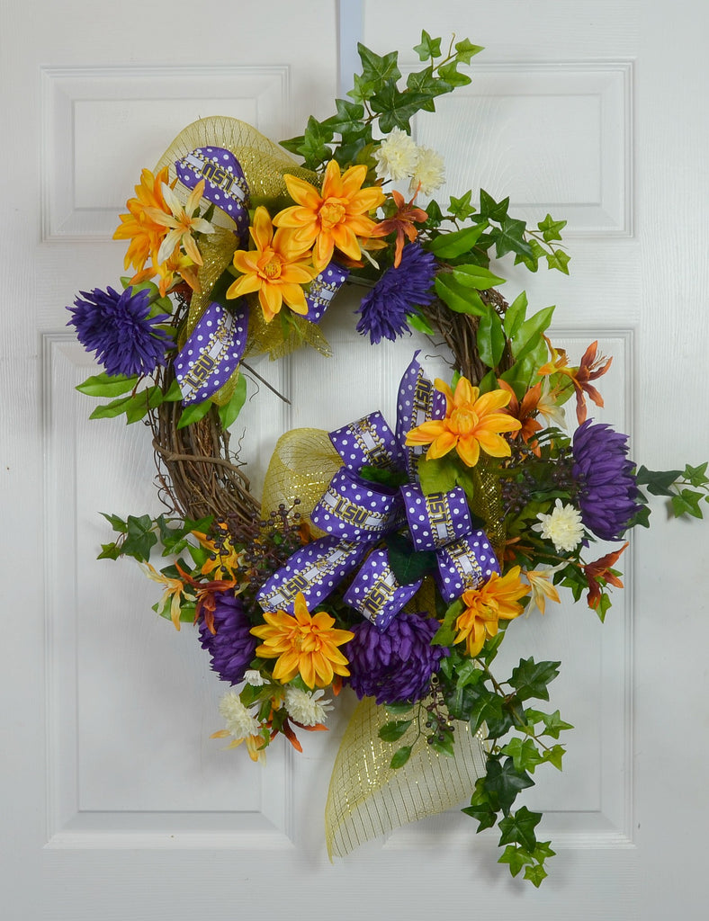 LSU Football Sports Floral Wreath with Deco Mesh