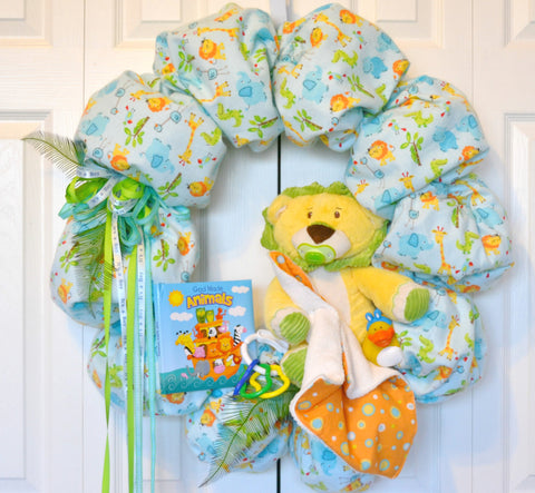 Nursery Newborn Baby Toddler Jungle Flannel Wreath with Animal