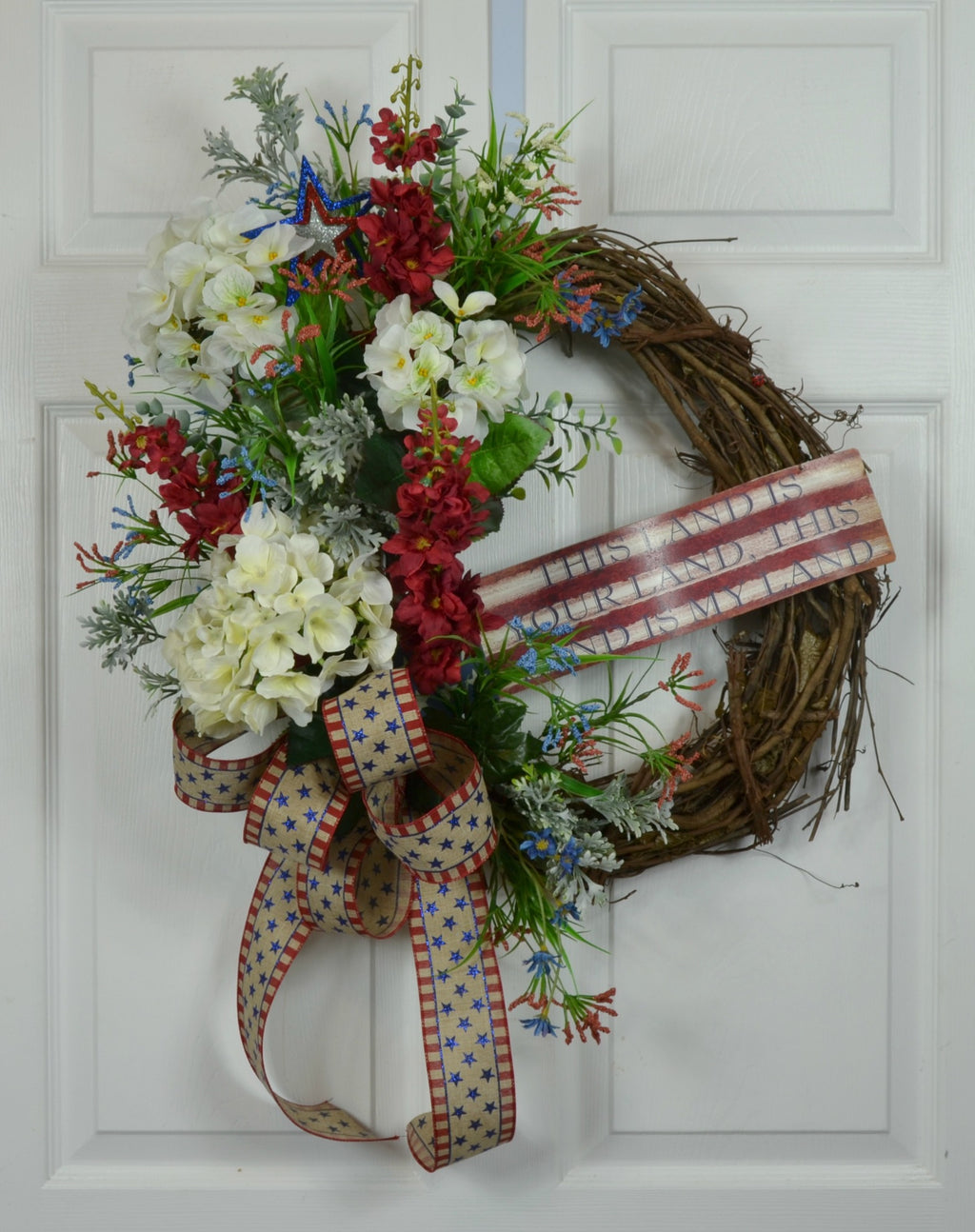Patriotic 4th of July Wreath with This Land is your Land Sign