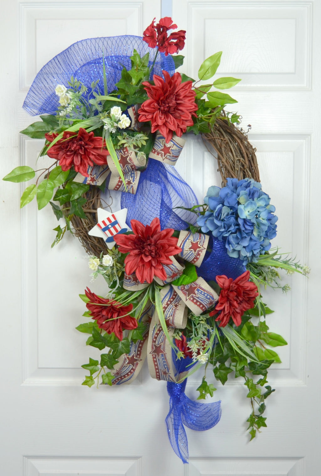 Patriotic 4th of July Front Door Floral Wreath