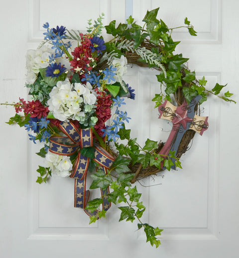 Patriotic Front Door Grapevine Floral Wreath