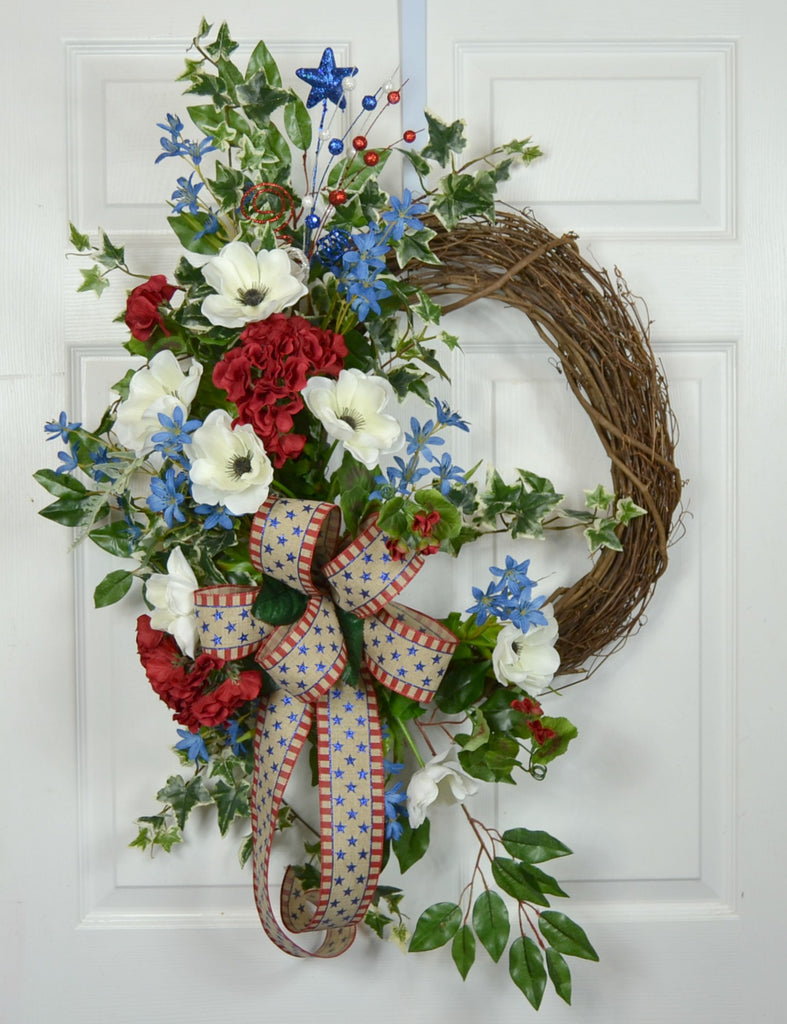 Patriotic Memorial Day 4th of July Floral Wreath