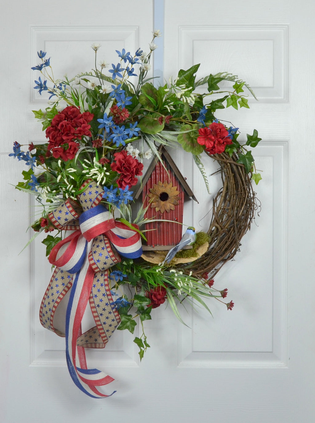 Patriotic Summer Front Door Wreath with Birdhouse