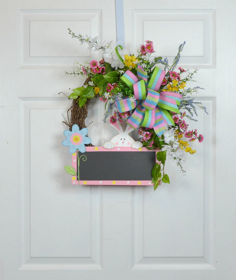 Peeking Bunny Spring Floral Wreath for your RV, Motorhome and Camper