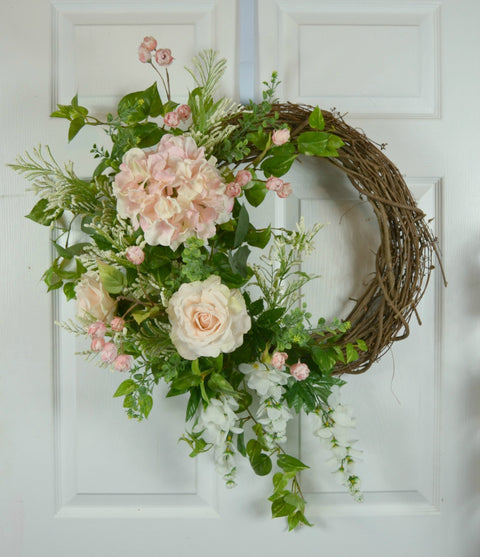 Pink Wedding Wreath with Hydrangea, Roses, and Wisteria