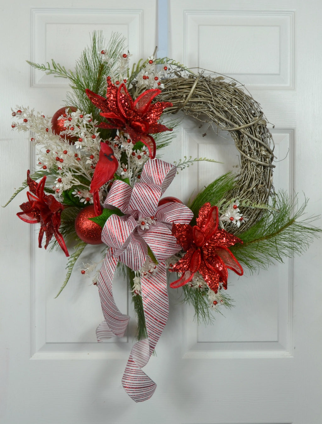 Red and White Poinsettia Christmas Door Wreath