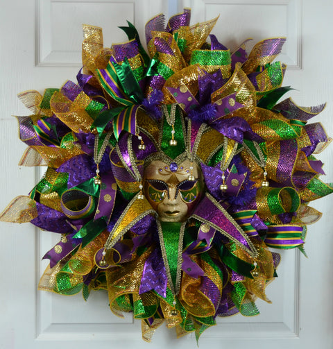 Rosary Mardi Gras Deco Mesh Wreath with Jester Mask