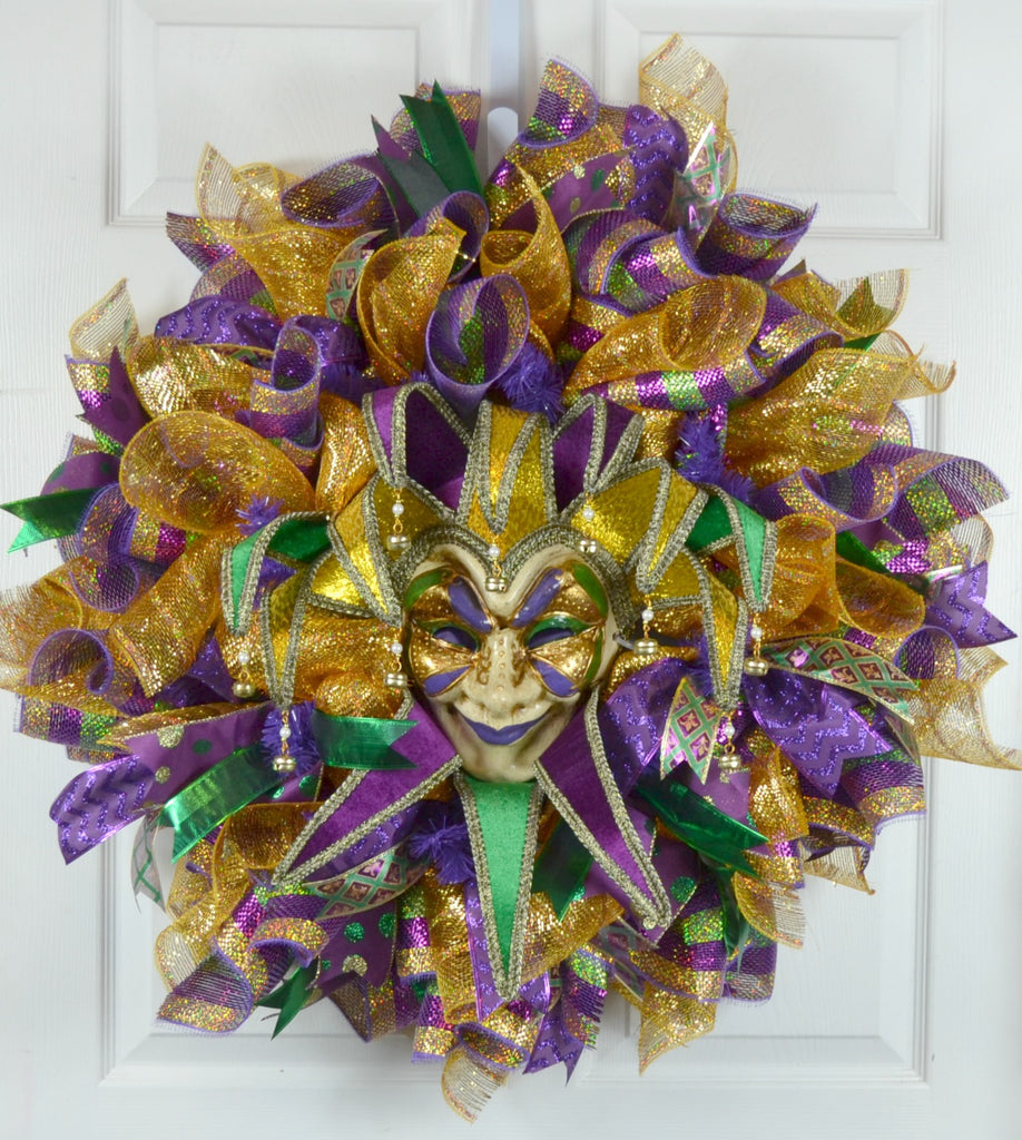 Rowan Mardi Gras Deco Mesh Wreath with Jester Mask