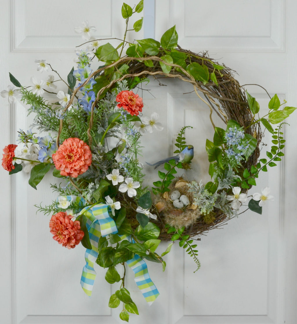 Spring Floral Wreath with Honeysuckle