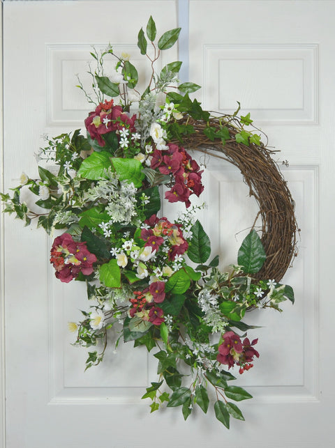 Spring Front Door Floral Wreath with Hydrangea