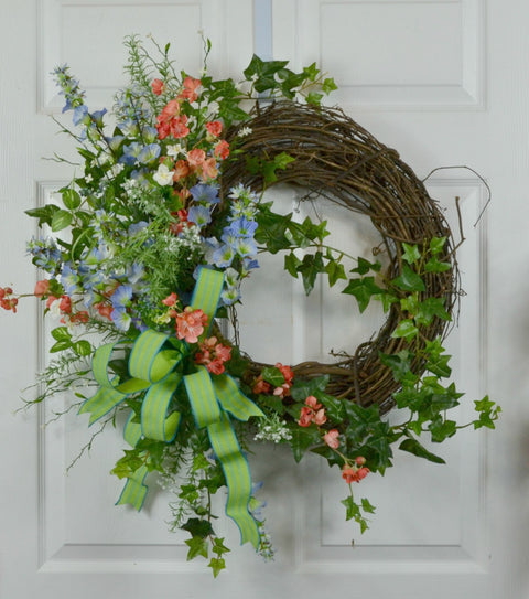 Spring Morning Glory Floral Wreath