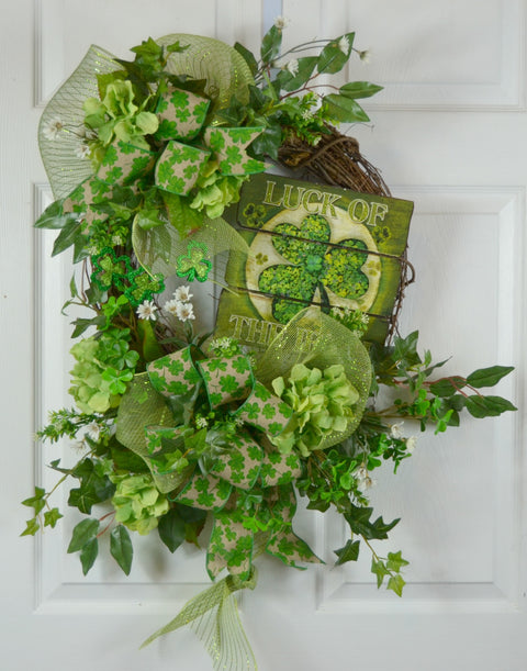 St Patrick's Day Luck of the Irish Grapevine Wreath