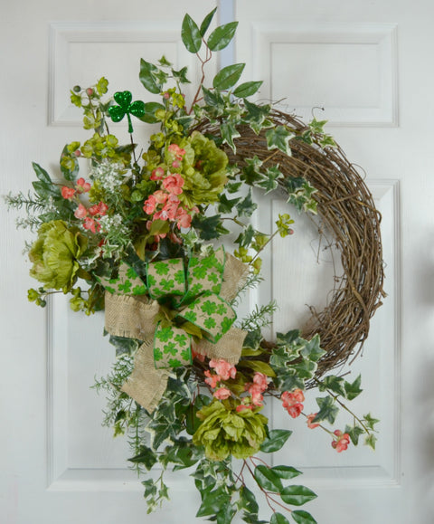 St Patrick's Day Wreath with Apple Blossoms