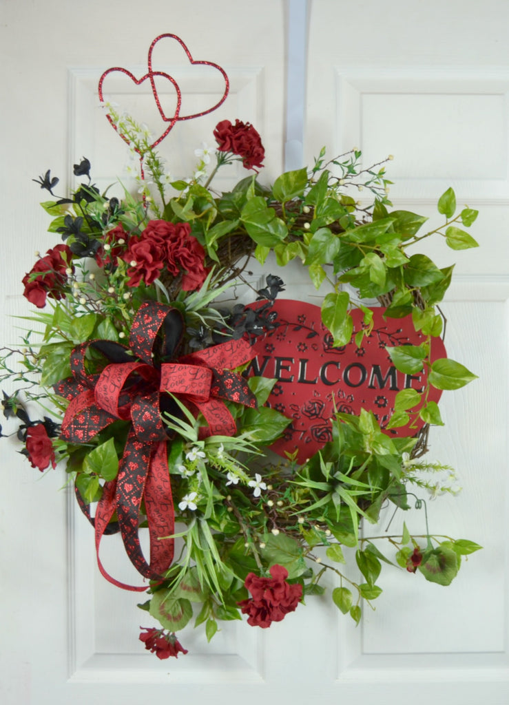 Valentine's Day Welcome Grapevine Wreath