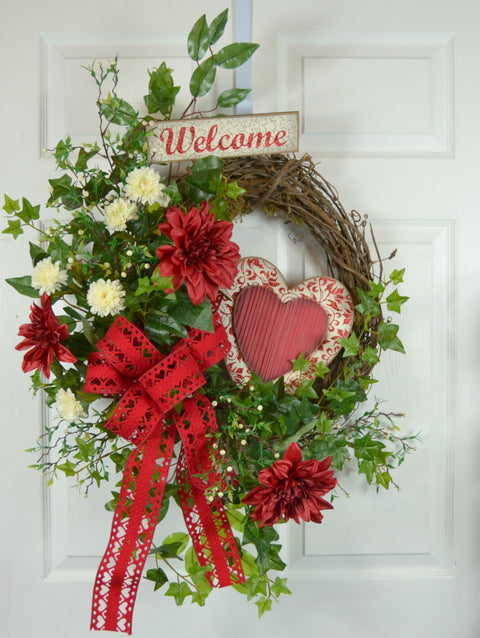 Valentine's Day Wooden Heart Wreath