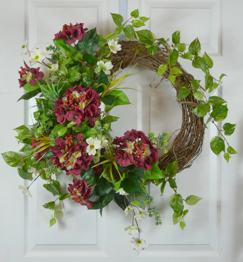 Valentine's Day Hydrangea Grapevine Wreath