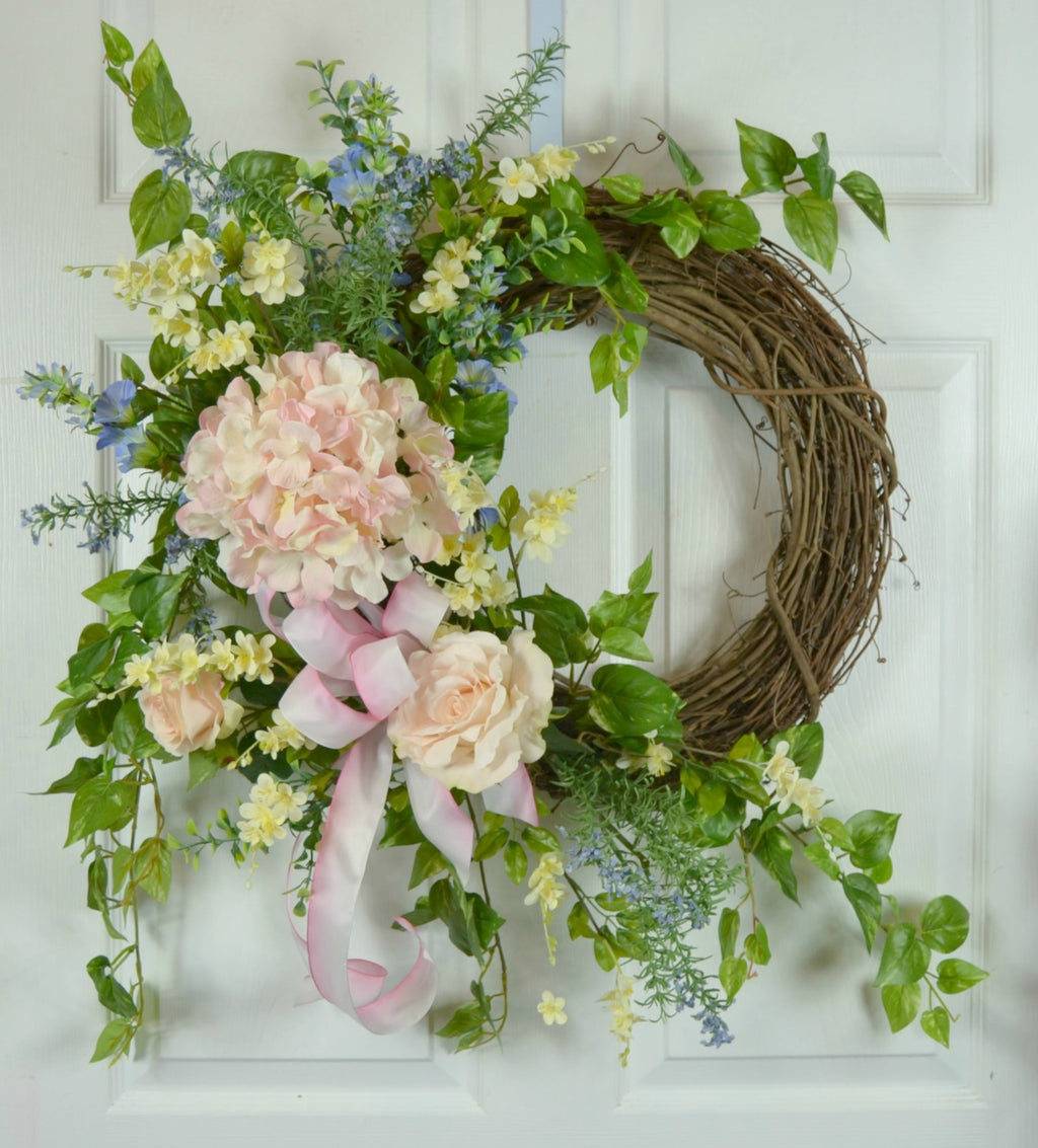 Wedding Wreath with Roses and Hydrangea