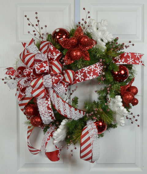 Winter Whimsical Snowflake Wreath for Front Door