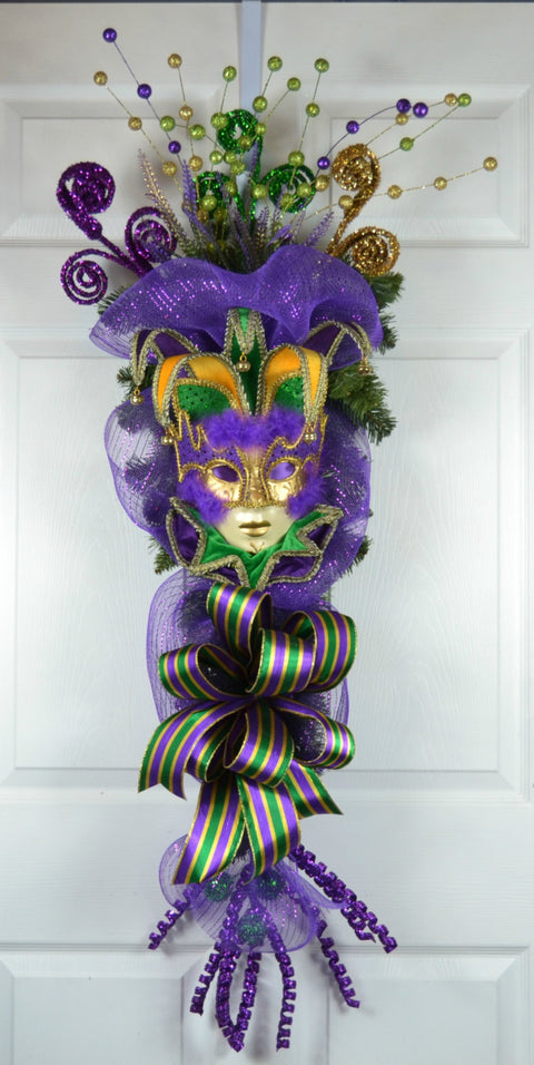 Bosemet Mardi Gras Deco Mesh Swag with Jester Mask