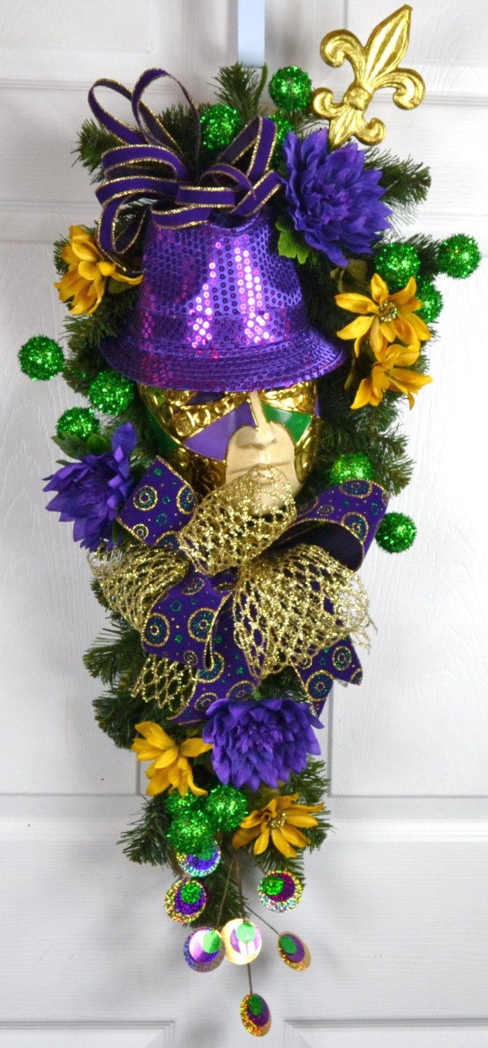 Jardot Mardi Gras Swag with Jester Mask