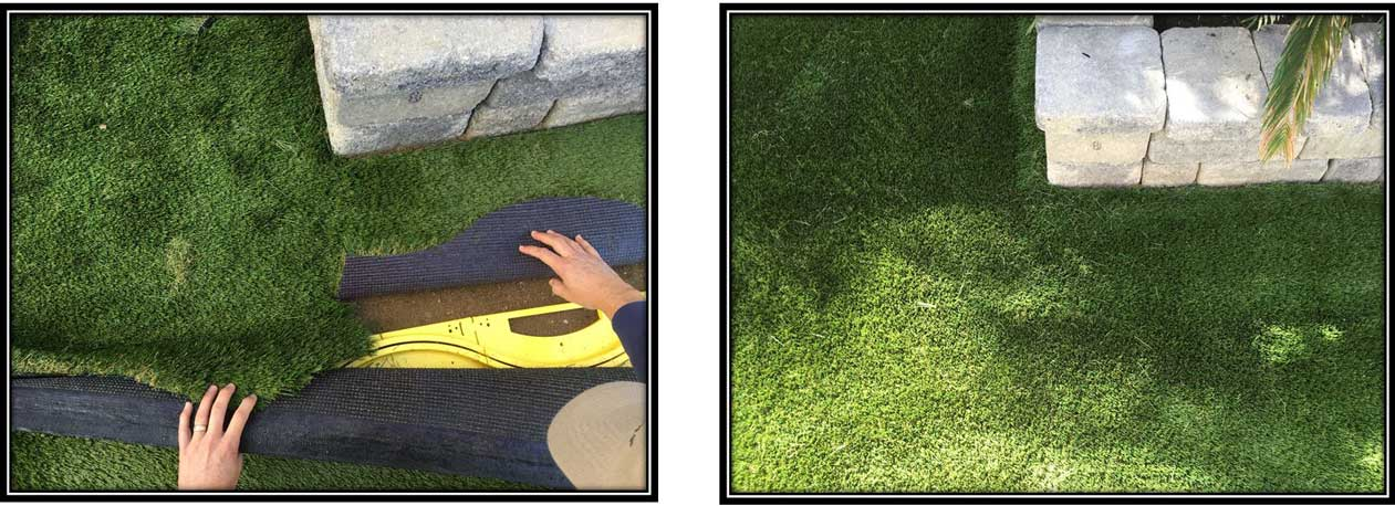 Procutta Seam Cutting Tool For Artificial Synthetic Turf Grass Before and After pictures