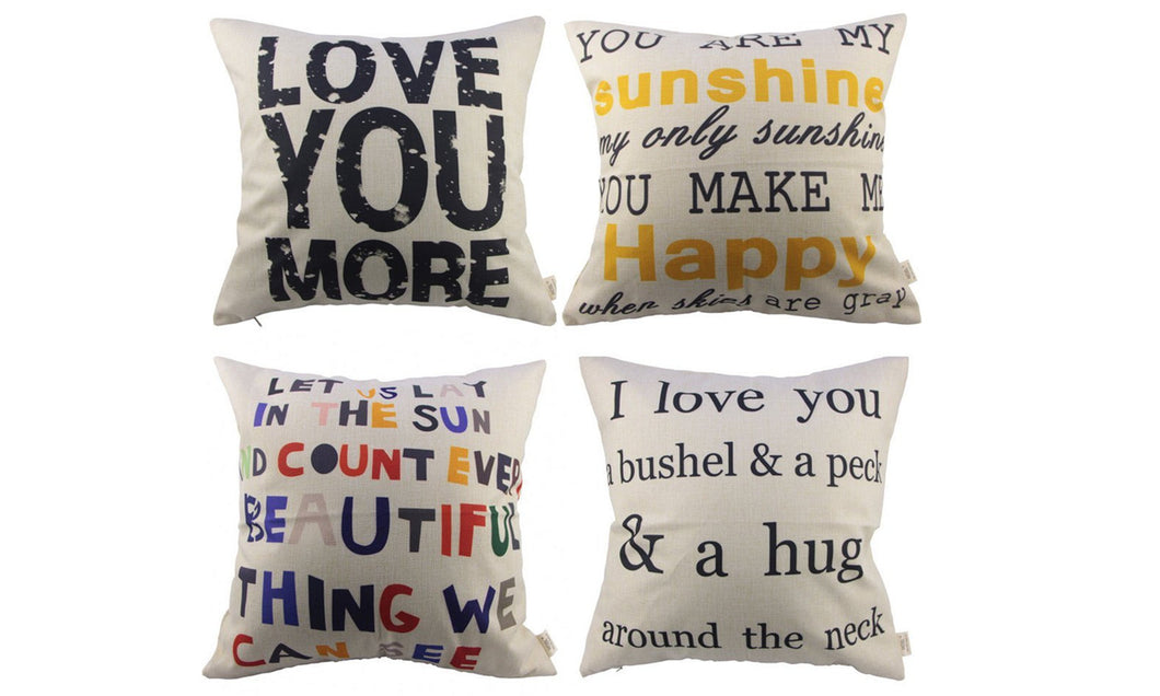 4pcs Sofa Simple Home Decor Design Throw Pillow Case Decor Cushion Covers Square (4x Love Pillow Covers)