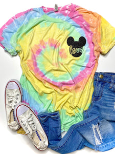 LOVE mickey pocket design - Rainbow TIE DYE