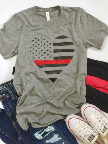 Thin red line heart