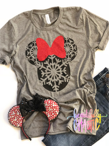Snowflake Christmas Mouse Shirts - black design