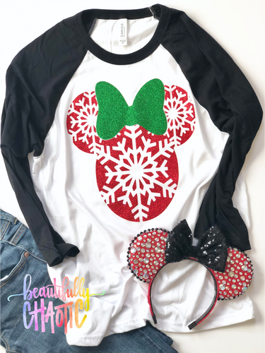 Red Snowflake Christmas Mouse - BLACK shirt - red design