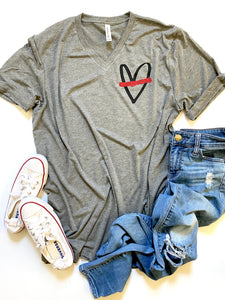 Thin red line heart- Pocket design