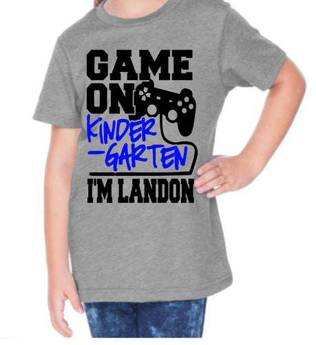 Game on - school grade- BLUE DESIGN- WITH NAME - KIDS