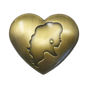 Brass heart pin Miz Cracker Merch Europe UK