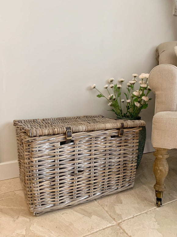 Whitewashed Hamper Basket