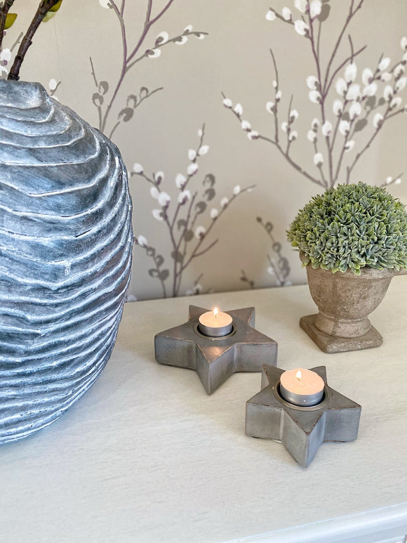 Star Tea Lights - Grey