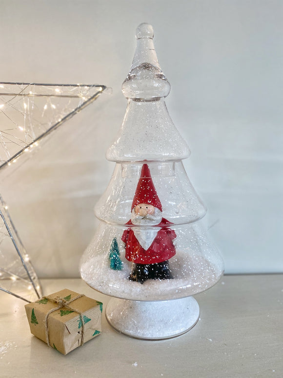 Flecked Belmont Glass Christmas Tree Jar