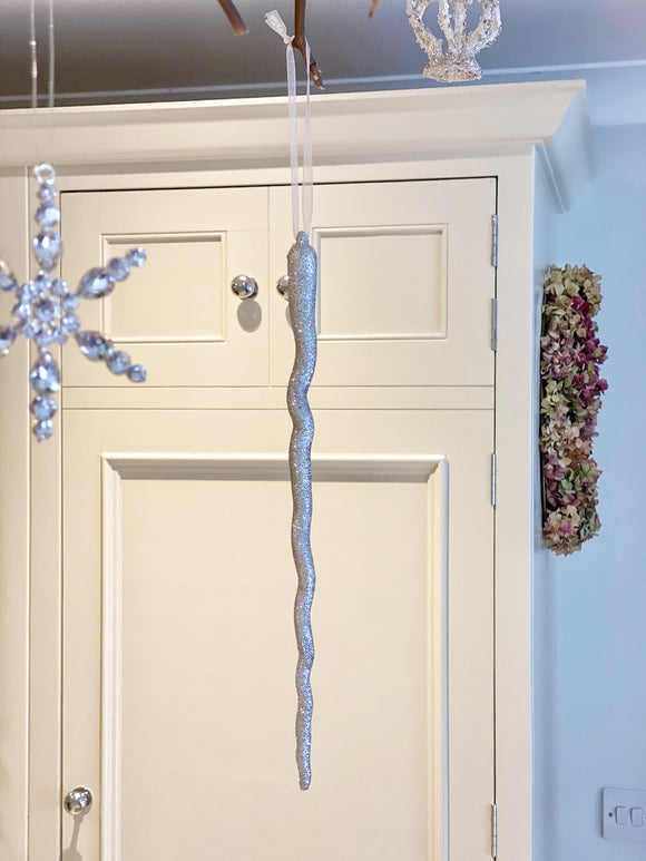 Silver Glitter Icicle Decoration