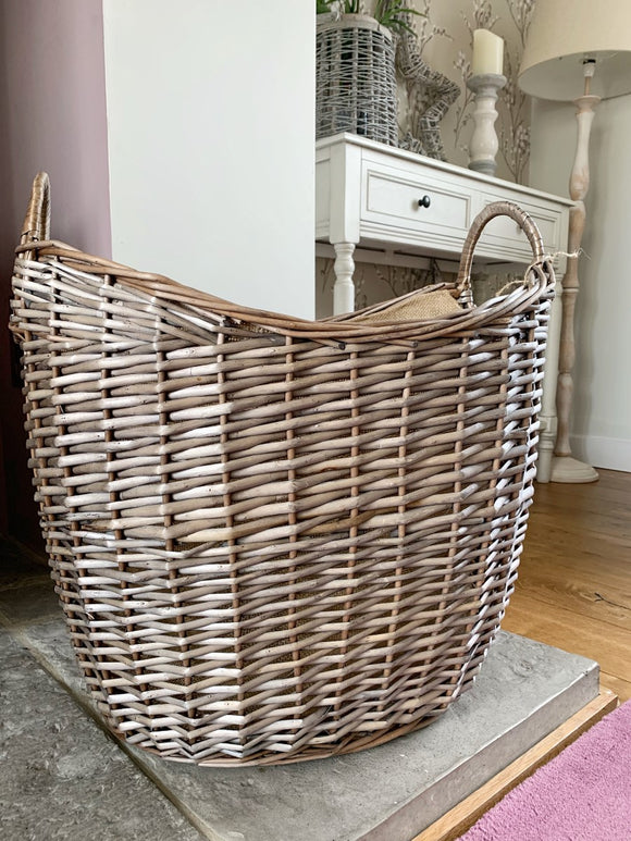 Scoop Neck Hessian Lined Basket
