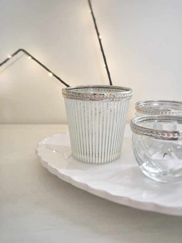 Nina Stripe Glass Candle Holder