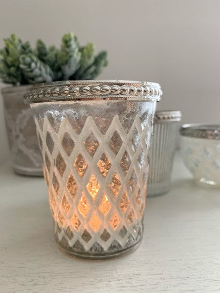 Nina Diamond Glass Candle Holder - Tall