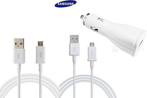Samsung Fast Adaptive Car Charger with 2x Detachable S6 Charging USB Cables Bulk
