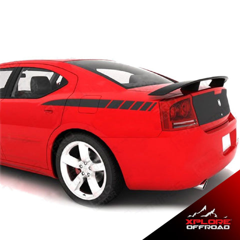 Dodge Charger Rear Quarter Side Stripes Decals | Matte Black | 2006-2010