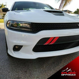 Dodge Charger V8 Vent Hash Marks Front Bumper Decals | Gloss Red | 2015-2019