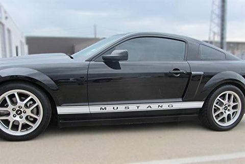 Mustang Rocker Panel Door Side Stripes Decals | Both Sides | Gloss Black | 1994-2019