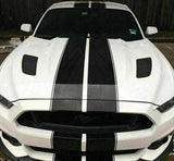 "Double Racing Stripe Decal | Universal 17"" Wide Full Body Hood to Roof Sticker All Models 