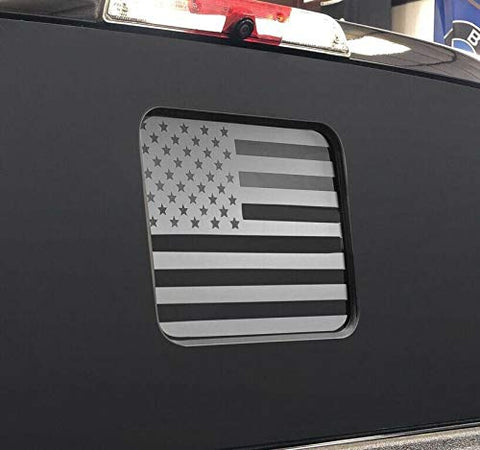 American Flag Middle Window Decals | Matte Black | Precut & Free Tools | F150 F250 F350+ | 2015-2018