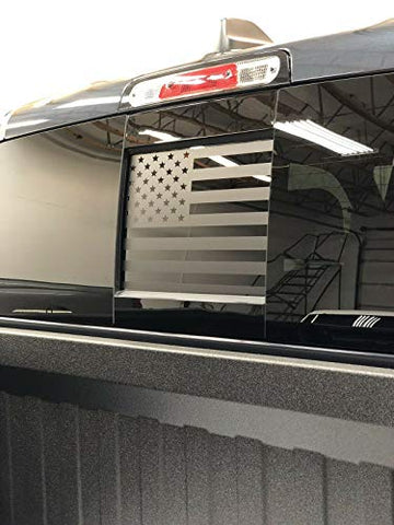 "American Flag Truck Middle Window Decals | Matte Black | Free Tool | Universal Fit (14"" x 17"")"