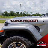 Jeep Wrangler JL JLU 2018 Hood Text Decals Sahara | Unlimited | Rubicon | Black & Red | Both Sides